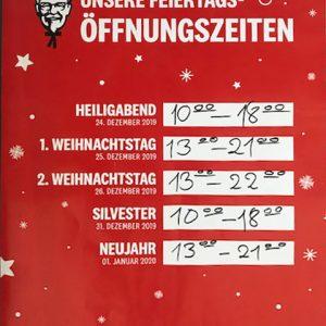 KFC ÖFFNUNGSZEITEN ÜBER DIE FEIERTAGE.