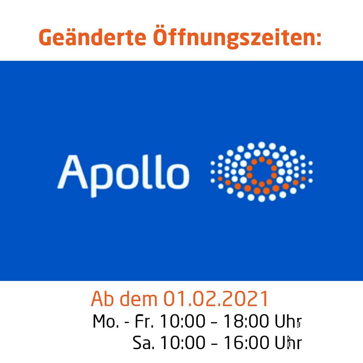 GEÄNDERTE ÖFFNUNGSZEITEN BEI APOLLO OPTIK AB DEM 01.02.2021